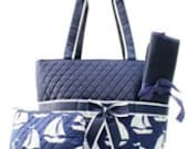 Navy Quilted Sail Boat Diaper Bag Set Changing pad..Personalize it for FREE... at no charge.... WOW What a Deal