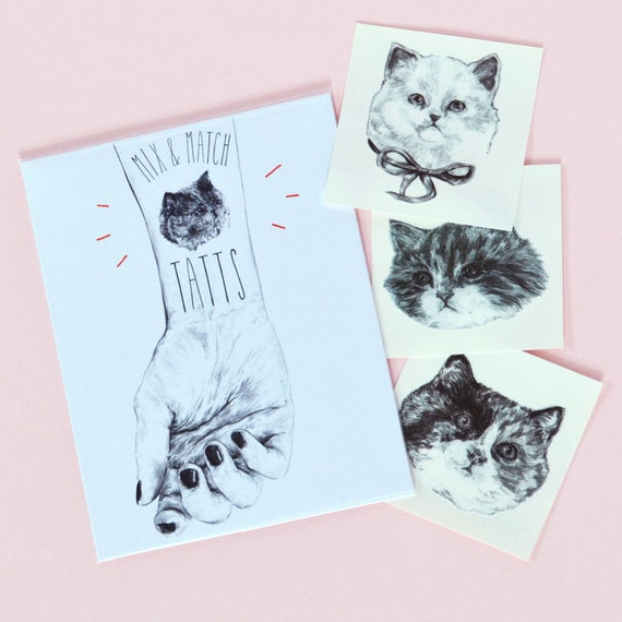 temporary tattoos - set of 7 fake cat tatts - cats - pussycat - kitten - kitty - cattoos