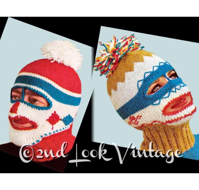 Vintage Balaclava Knitting Pattern : Vintage Knitting Pattern 1960s Ski Mask Balaclava Dickey