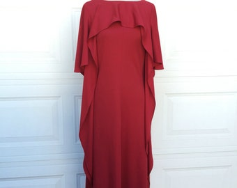 1970s 1980s vintage custom made red grecian goddess cape draped asymmetric hostess part maxi dress size XS S