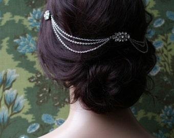 Hair Chain Headpiece - Art Deco Headpiece -Bridal hair jewellery  - 1920s Bridal headpiece -Downton Abbey headpiece -1920s wedding dress
