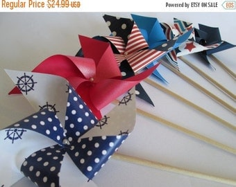 SALE 50% OFF Paper Pinwheels Set of 6 Nautical Favors Beach Party Favors Barbecue Favors Red White and Blue Nautical Decoration Summer Pool