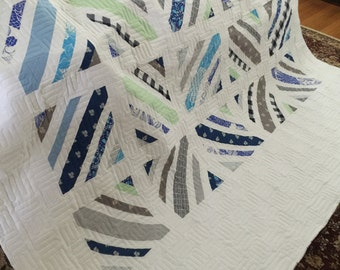 Quilt Between the Line Blues Grays and White Queen Made to Order