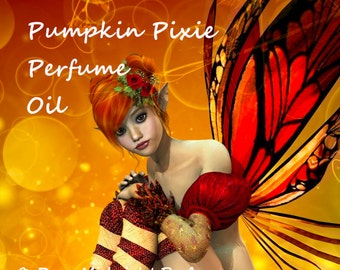 PUMPKIN PIXIE Perfume Oil - Pumpkin, Juicy Pears, Caramel, Roasted Pralines, Nutmeg, Cinnamon - Halloween Perfume- Fall Fragrance