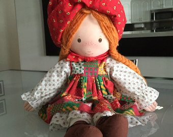 Holly Hobbie Cloth Doll/ Rag Doll/ Christmas Doll/ Cloth Doll/ Vintage Holly Hobbie Amtoy /By Gatormom13