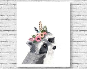 Watercolor Racoon, Woodland Nursery Art, Animal Paintings, Animal Wall Art, Childrens Wall Decor, Kids Art Print, Racoon artwoodland