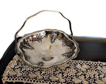 Antique English Silver Basket, Regis Plate E.P.N.S. 521, Footed Silver Bridal Basket, Silver Bread Basket, Made in England