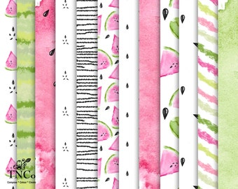 Watermelon Paper, Watercolour Watermelon, Watermelon Illustration, Pink Digital Paper Pack, 12 x 12 Paper Download, Commercial use ok. fruit