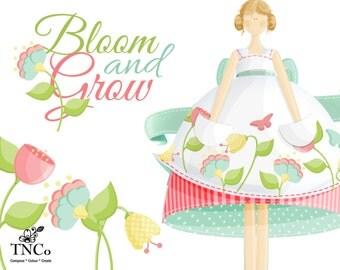 Fairy clip art - Garden clipart - Garden fairy graphics - Flower Illustrations - Invitation clip art - Commercial graphics - Nursery graphic