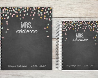 Teacher Daily Planner | Teacher Weekly Planner | Best Planner for Teachers | 2017-2018 | Teacher Planner | chalk confetti