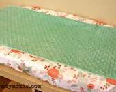 Designer Changing Pad Cover - Coral Mint Roses Metallic Gold Accents  - Choose Your Minky Color -For the Modern Nursery with a Vintage Flair