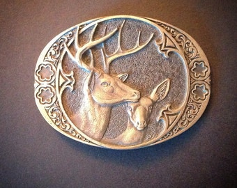 Vintage Brass Belt Buckle Buck Doe Deer Wildlife Vintage Belt Award Design Metals