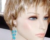 SHOP CLOSING SALE: Ashira Natural Turquoise Blue Quartz Delicate Long Silver Cz Cluster Earring