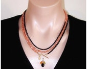 SHOP CLOSING SALE: Ashira Black Spinel, Peach Moonstone & Copper Pyrite Gemstone Statement Necklace with Charms