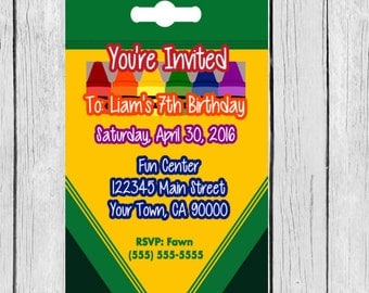 crayon invitation, crayon  birthday invitation, crayon box invitation, crayon invite, crayon invites, crayon party theme, crayon invites