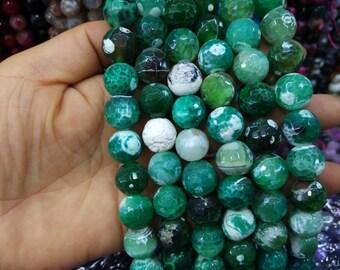 2 str -White Emerald Green Agate 14mm Round ball beads -28pcs/strand