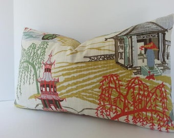 Both Sides / Chinoiserie Pillow Cover / Neo Toile / Lumbars and Squares /Coral / Aqua / Jade / Periwinkle Blue / Celery heart Yellow / Cream