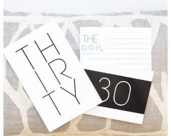 30th Birthday | Thirty Response Cards | Memory Cards | Birthday | Milestones | Invitations | Letters | Set of 50