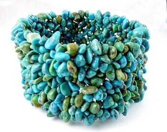"Wide Turquoise Nuggets Stretch Bracelet - Natural Tones, 1 1/2"" Wide"