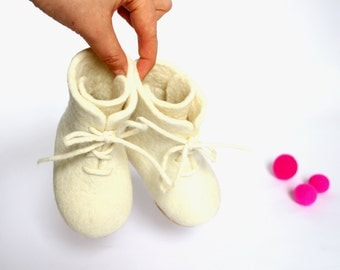 Wool Baby Booties - Felted Wool Shoes - Rubber Soles - Laced Up Boots - Kids Boots - Minimalist Shoes - Christening Gift - Baby Baptism
