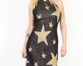 90's Black and Gold Star Pattern Knit Dress size - S/M