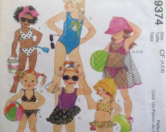 Little Girl's Bathing Suit, Cover-up and Sarong Sewing Pattern For Stretch Knits - McCall's 9374 - Sizes 4-5, Breast 23 - 24