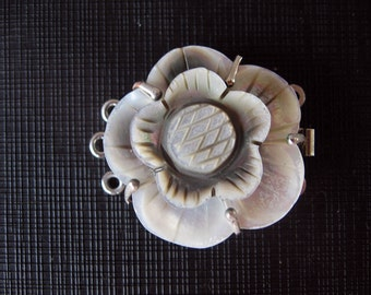 Beautiful Carved Mother of Pearl Shell Flower Clasp Triple Strands