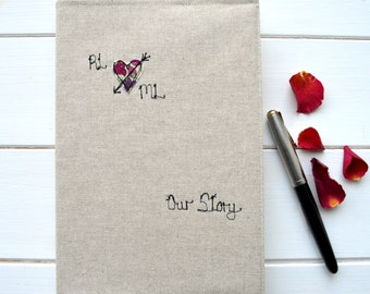 1st Paper Anniversary, Gift For Couple, 2nd, 4th, Linen, Cotton, Gift For Wife, Engagement Keepsake, Memory Book, Wedding Anniversary