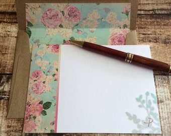 Chic Shabby Roses - Monogram P Note Card Set with Hand Lined Kraft Envelopes | teacher's gift, personalized initial stationery