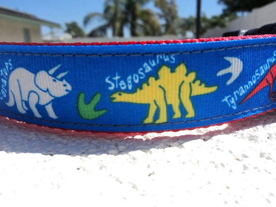 "Dog Collar Dinosaur Prints 1"" wide Quick Release or Martingale collar adjustable - S- xxxl"