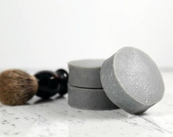 Black Tea + Tobacco Round Shave Bar.  Shaving Soap.  Shave Bar.