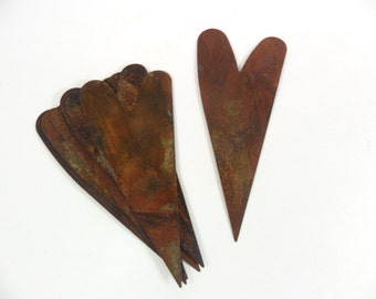 """6 Rusty Hearts Tin Cut Outs 4"""""""