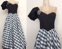 1980's One Shoulder Gunne Sax Vintage Prom Dress Plaid Black & White Vintage Ball Gown Size Small by Maeberry Vintage