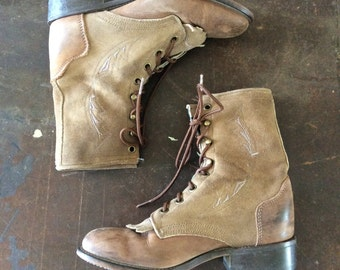 Vintage Laredo Brown Leather Lace Up Boots Size 5/5.5 Vintage Western Ankle Boots Roper Boots by Maeberry Vintagd