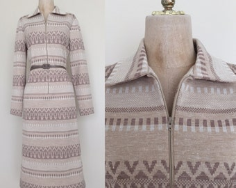 1970's Beige Aztec Vintage Belted Shift Dress Size Medium Large by Maeberry Vintage