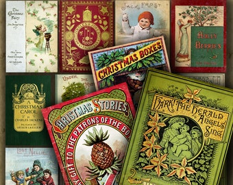 VICTORIAN CHRISTMAS Book Covers No. 2 Digital Printable collage sheet for Tags Cards Paper Crafts..Shabby Holiday Religious