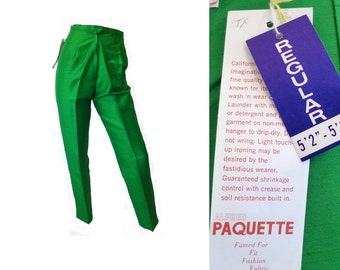 Bright Green Cigarette Pants, New Old Stock with Tags, Vintage 1960s Size XS 24 inch waist x 29 inch inseam