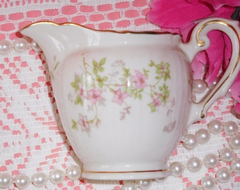 Vintage Pink Flowers Syracuse China Gold Trimmed Creamer
