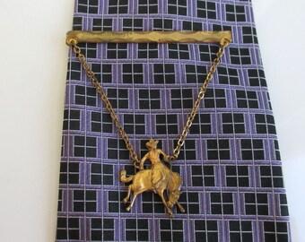 Gold Bucking Bronco Tie Bar / Tie Clip / Tie Clasp - Vintage Anson, Western, Worn