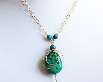 Wire Wrapped Turquoise Necklace