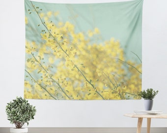 Wall Tapestry Sunny Blooms 3 fine art Modern Flower photography home decor bright yellow bokeh circle pastel sky blue geometric abstract