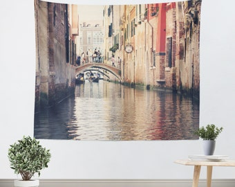 Venice Italy Canal - Venetian Tapestry - Wall Hanging - Venice Architecture - Venice Photo - Italy photography - tan and orange