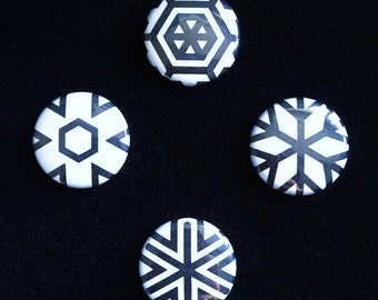Hex Optic minis – Mini badge Quad set featuring op-art geometry