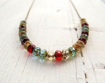 Floating Bead Necklace, Czech Glass Choker, Seasonal Colours, Dainty Neck Piece, Boho Chic, Collar Length, Small Size, Teen Girl