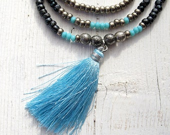 Tassel Necklace, Bohemian Multi Strand, Czech Glass Seed Beads, Layered Necklace, Turquoise Blue, Boho Chic, Tribal Hippie