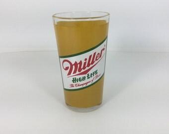 Vintage Miller High Life Champagne of Beer Glass