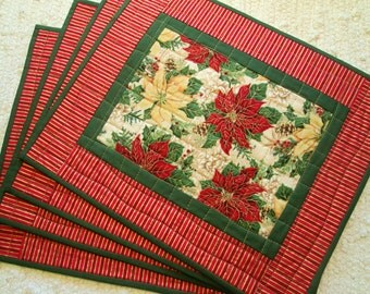 Quilted Christmas Placemats - Poinsettias - Set of 4