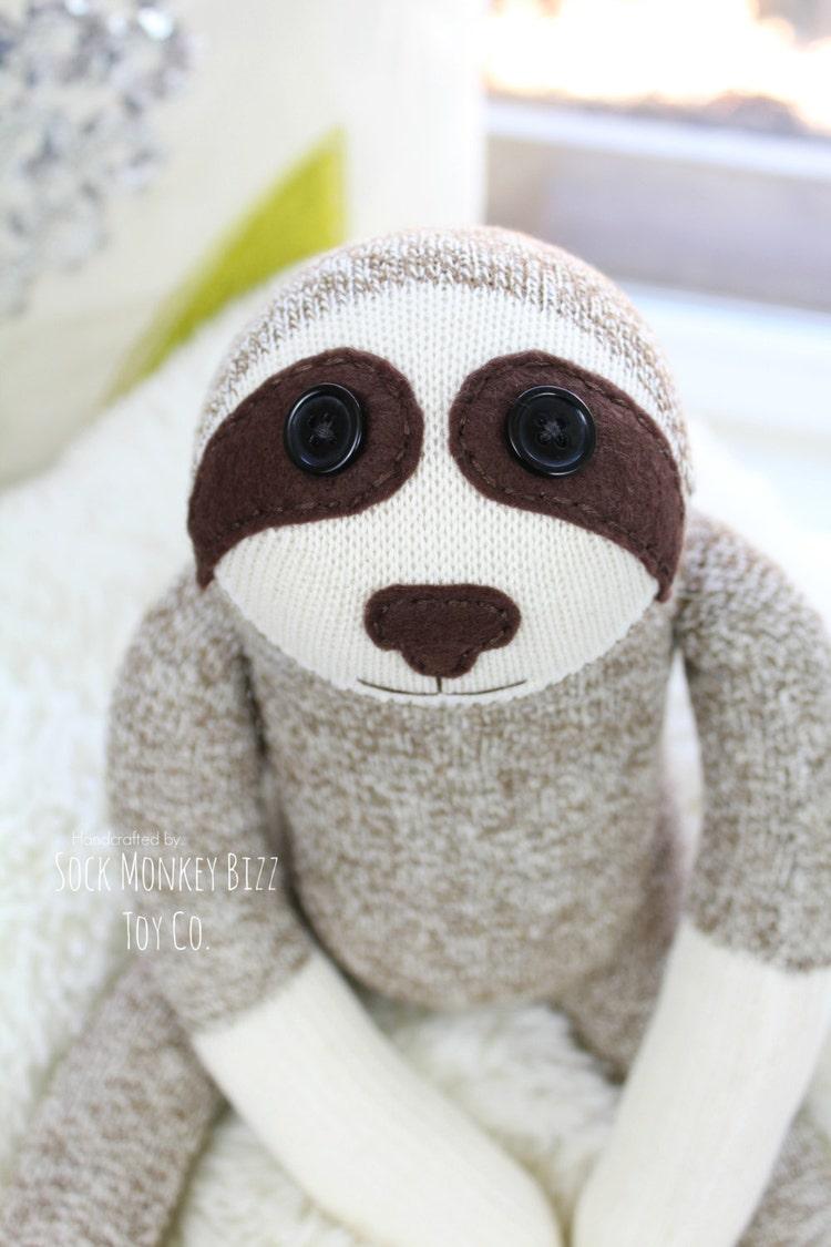 Sock Monkey Sloth Doll Childs Toy By Sockmonkeybizztoyco