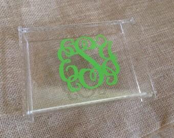 Personalized Acrylic Jewelry Box - Monogram Desk Organizer