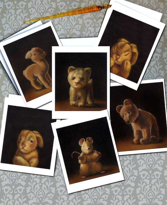 Vintage Steiff Toy Notecards - Toy Animal Portrait Cards - Collectible Toy - Antique Steiff